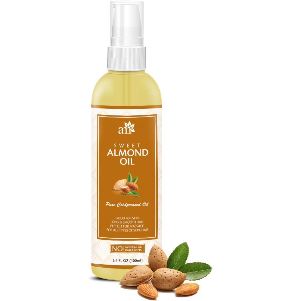 AromaMusk 100% Pure Cold Pressed Sweet Almond Oil For Massage, Skin, Under Eye & Hair (100ml)