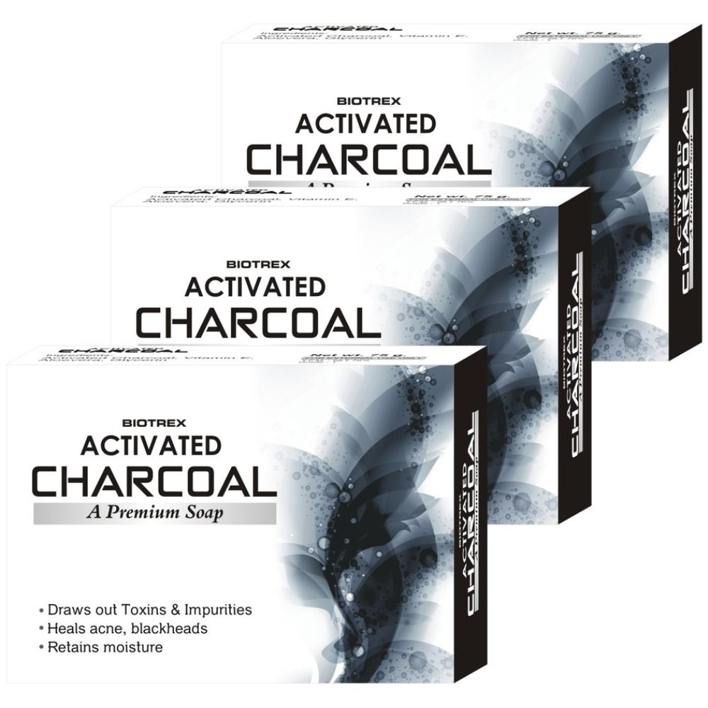 Biotrex Activated Charcoal A Premium Soap (75g, Pack of 3)