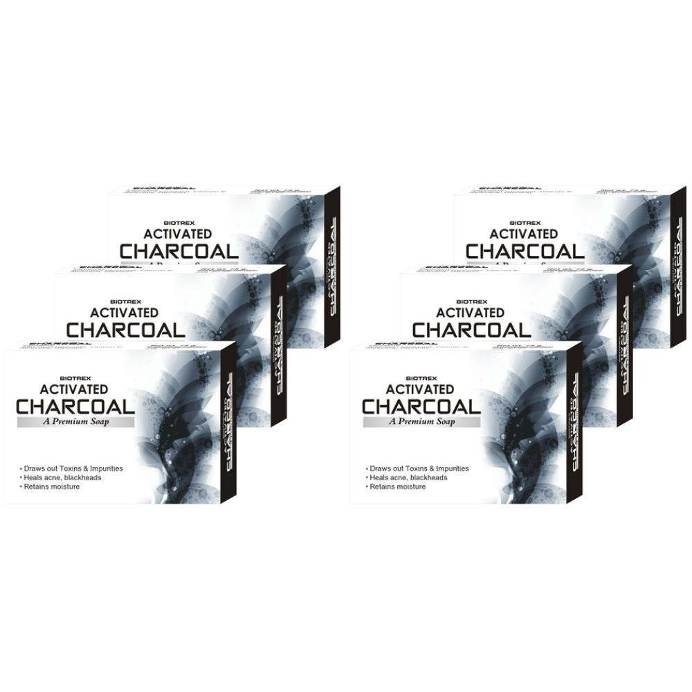 Biotrex Activated Charcoal A Premium Soap (75g, Pack of 6)