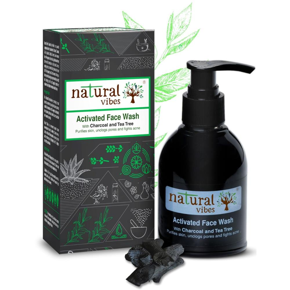 Natural Vibes Ayurvedic Tea Tree And Activated Charcoal Face Wash (150ml)