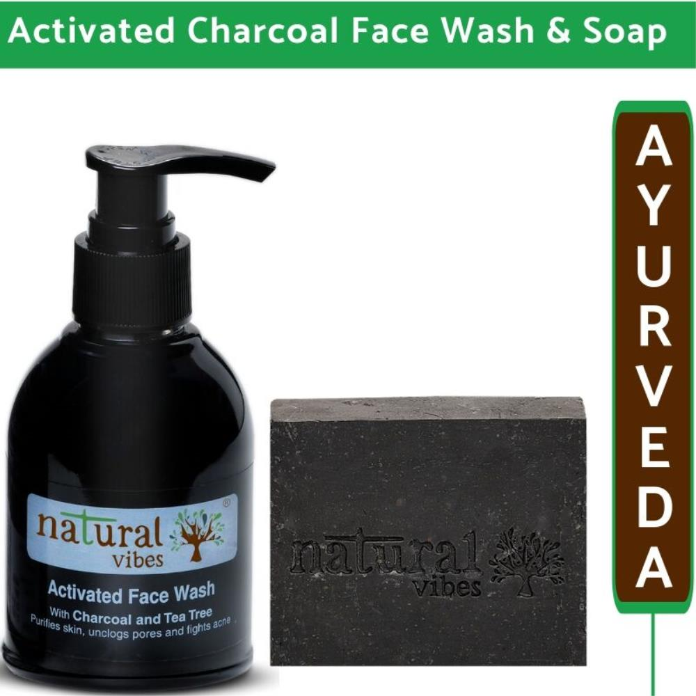Natural Vibes Ayurvedic Activated Charcoal Face Wash And Soap Combo (1Pack)