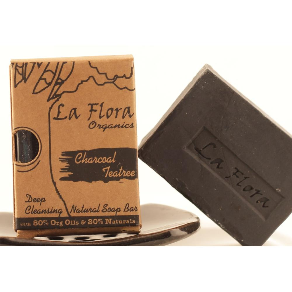 La Flora Organics Charcoal & Teatree Deep Cleansing Black Soap (100g)
