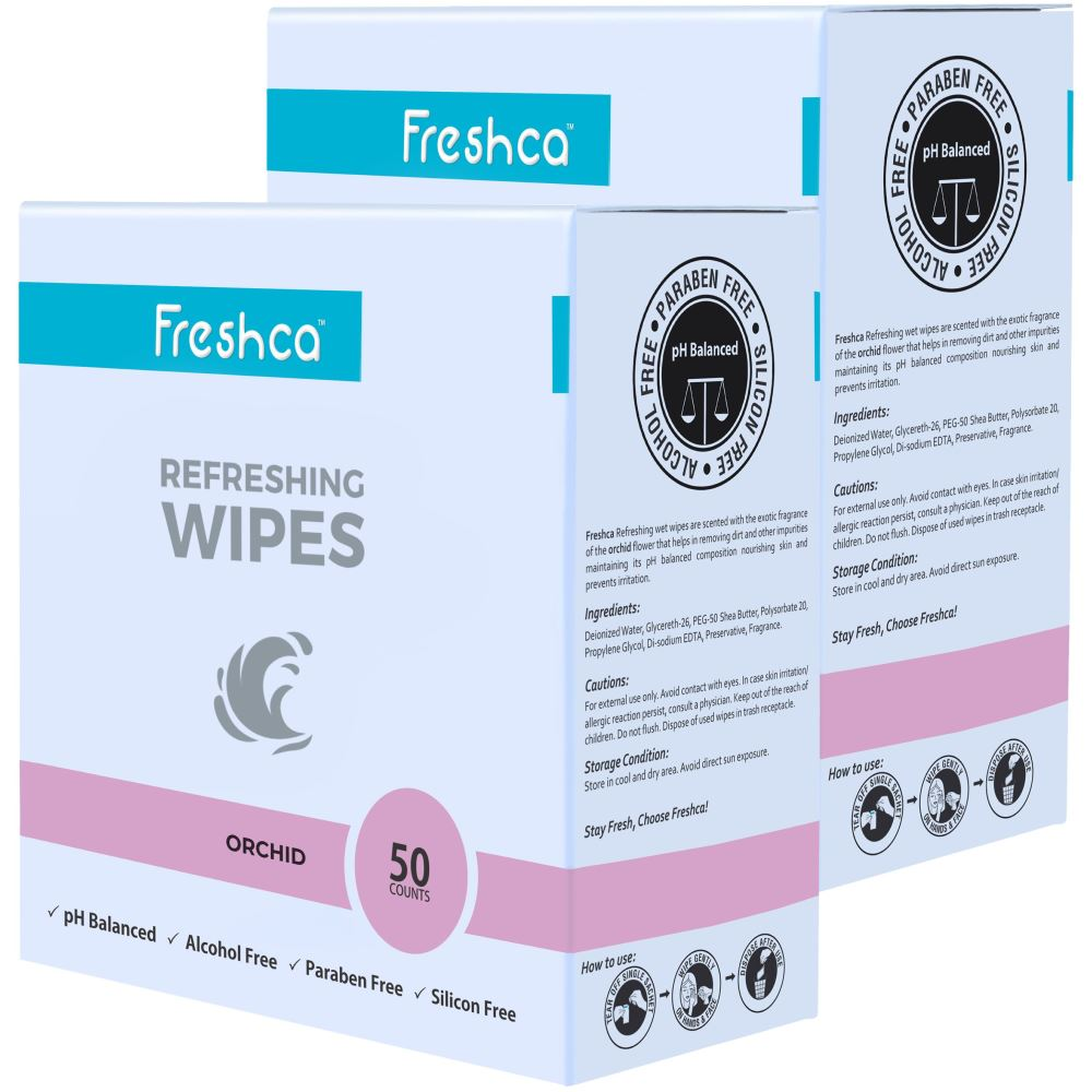 Freshca Refreshing Wet Wipes in Orchid Fragrance (100pcs)