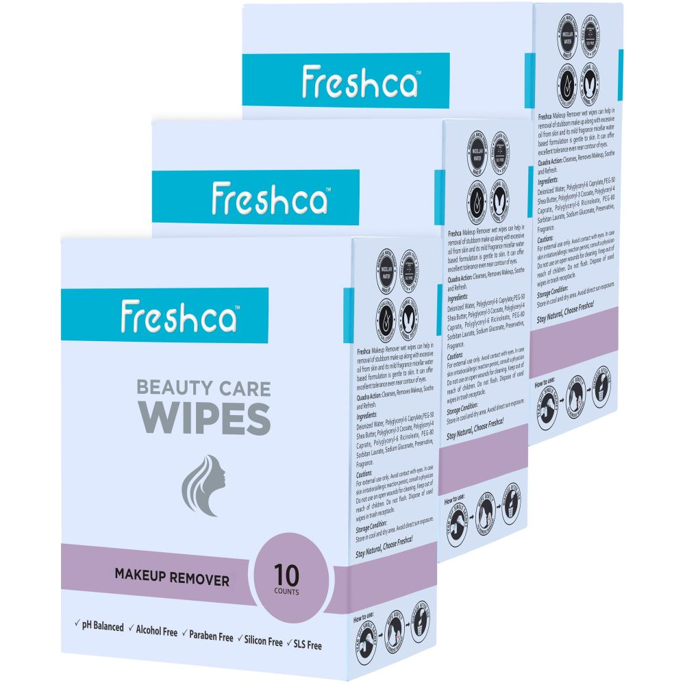 Freshca Makeup Remover Wet Wipes with Micellar Water Formula (30pcs)