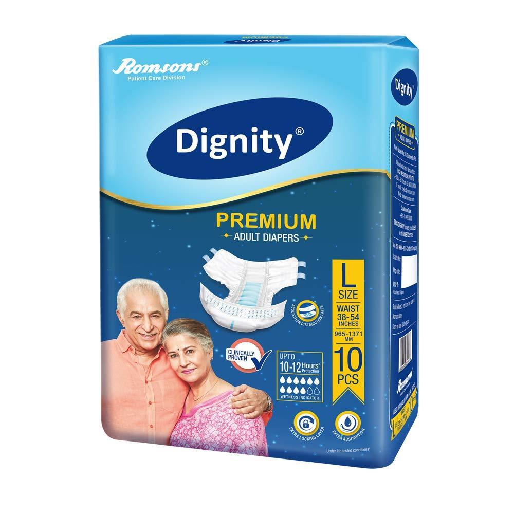 Dignity Premium Adult Diaper (L, Pack of 10)