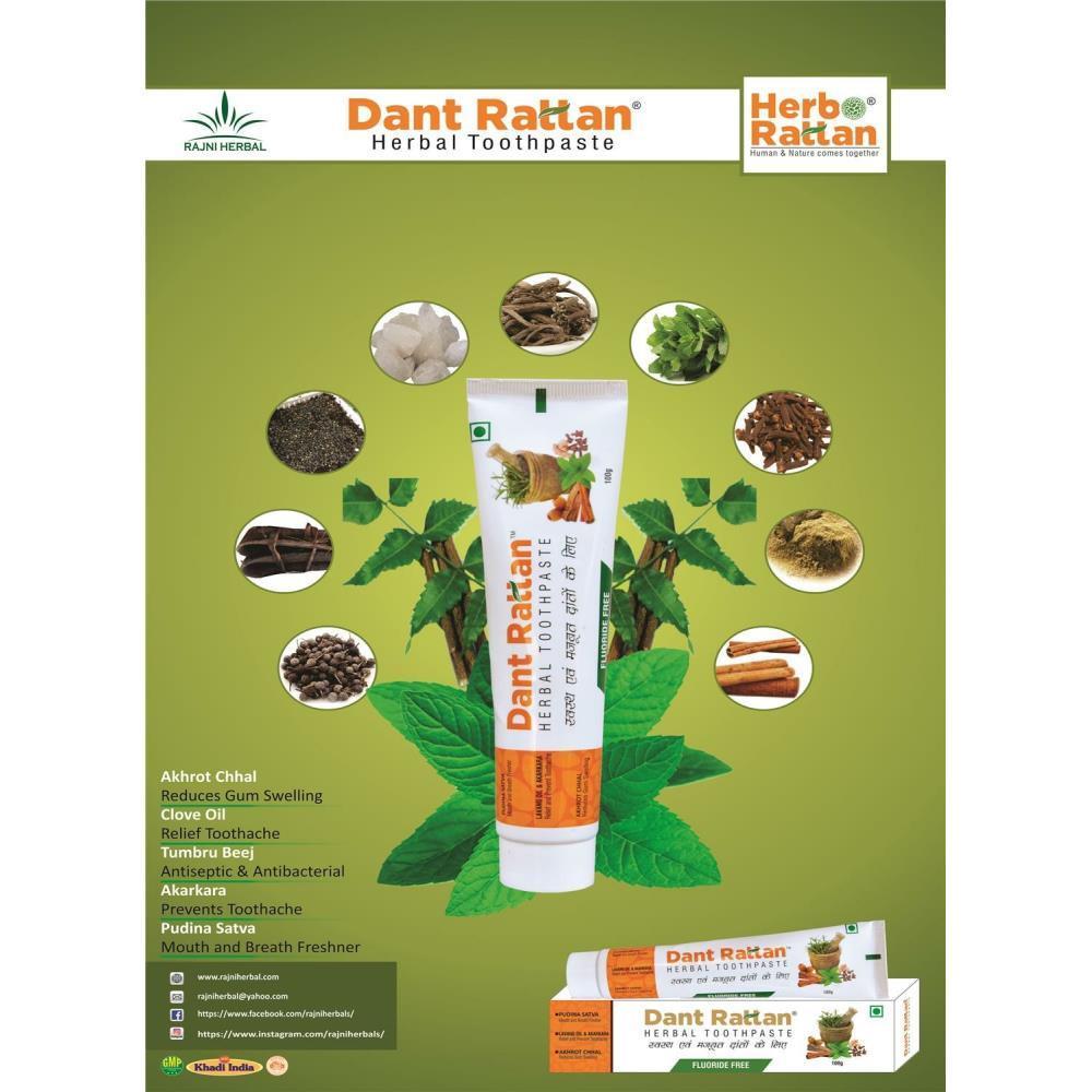 Rajni Herbals Dant Rattan Herbal Toothpaste (100g, Pack of 2)