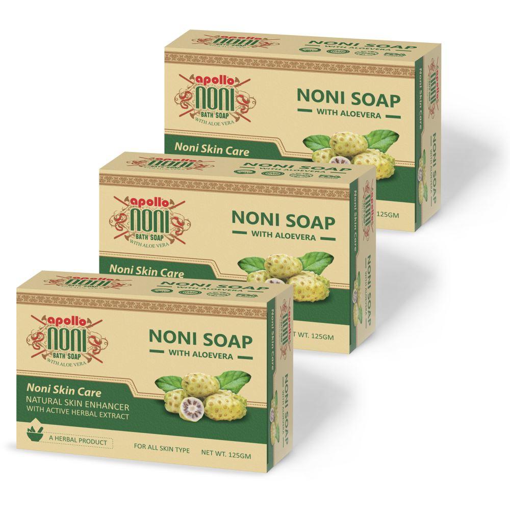 Apollo Noni Bath Soap with Aloevera (125g, Pack of 3)