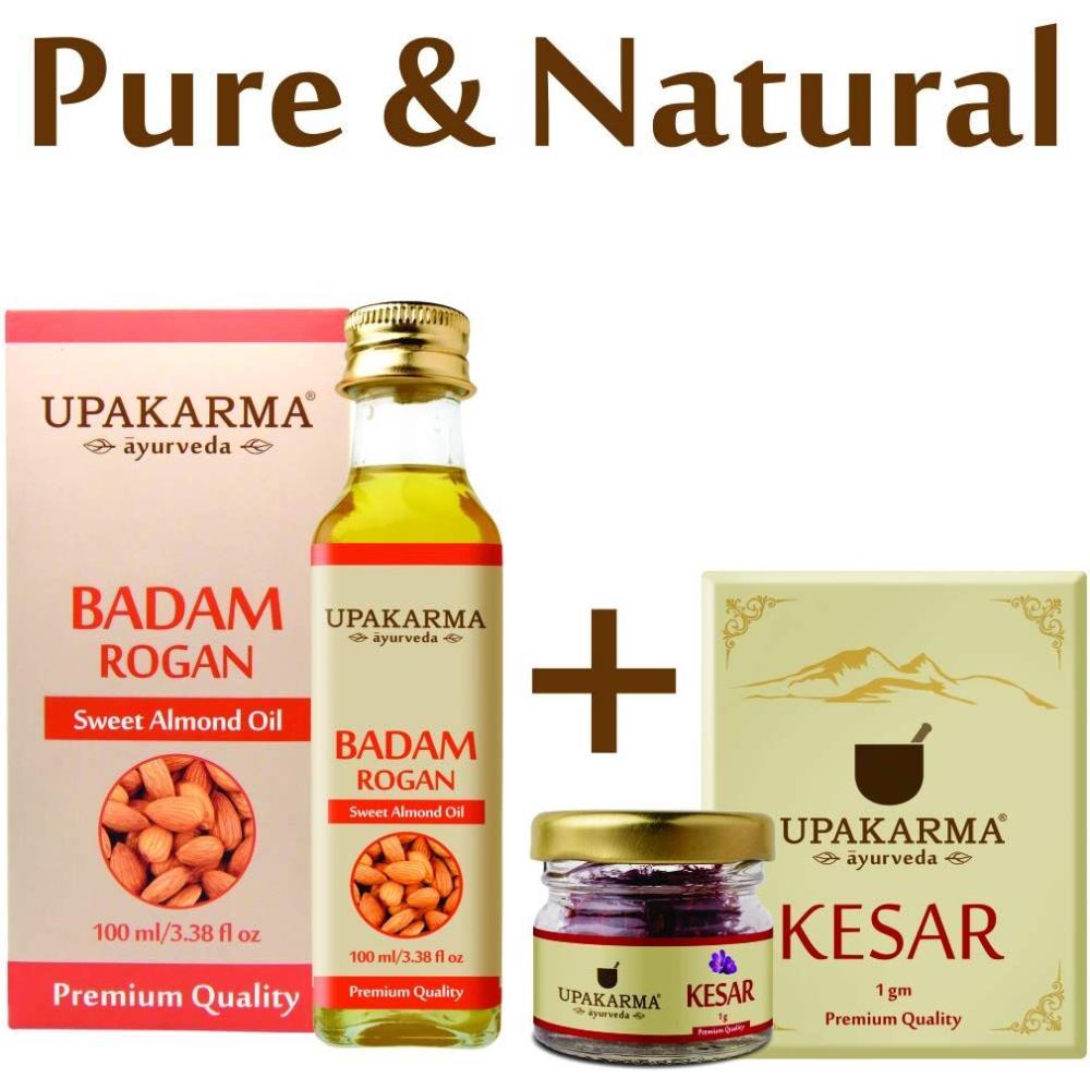 Upakarma Ayurveda Badam Rogan (100Ml) & Keshar(1G) Combo Pack (1Pack)