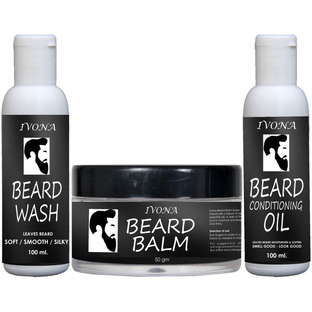 Ivona Beard Oil(100Ml) & Beard Wash(100Ml)& Beard Balm(50G) Combo Pack (1Pack)