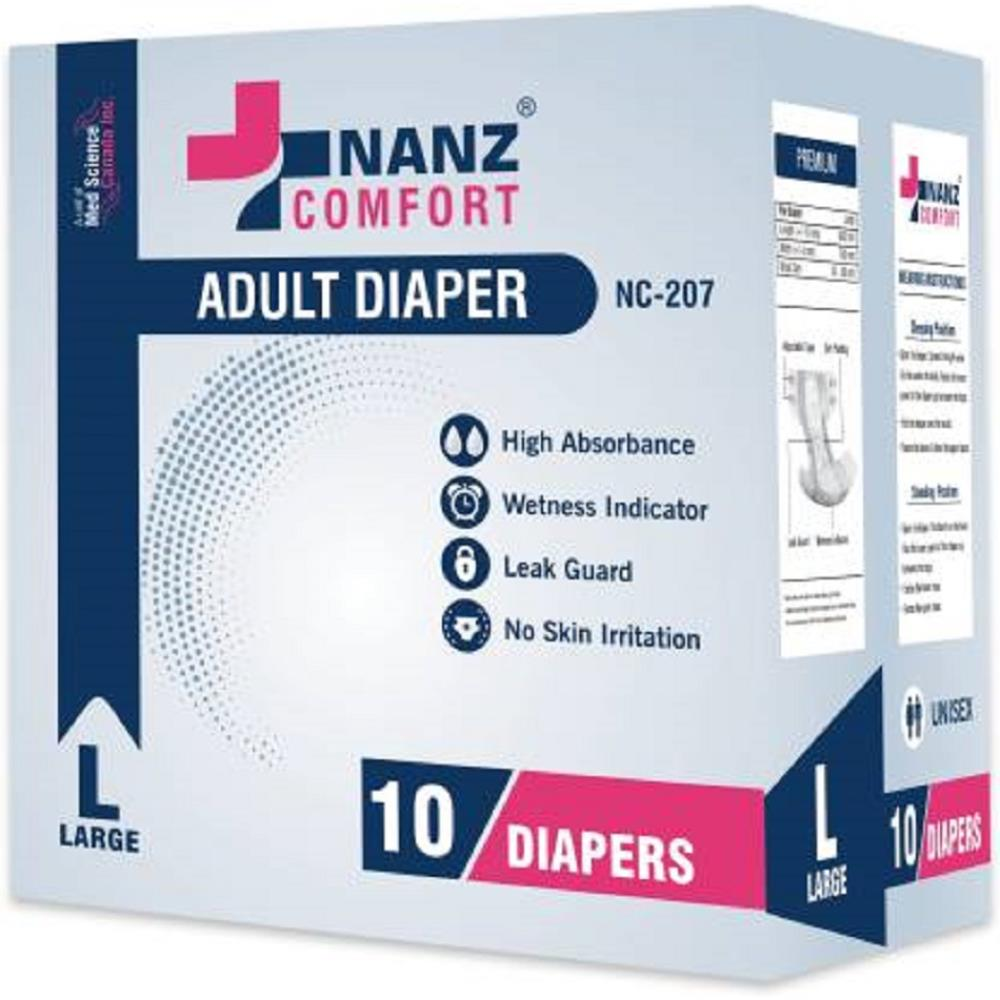 Nanz Comfort Adult Unisex Diapers (L, Pack of 10)