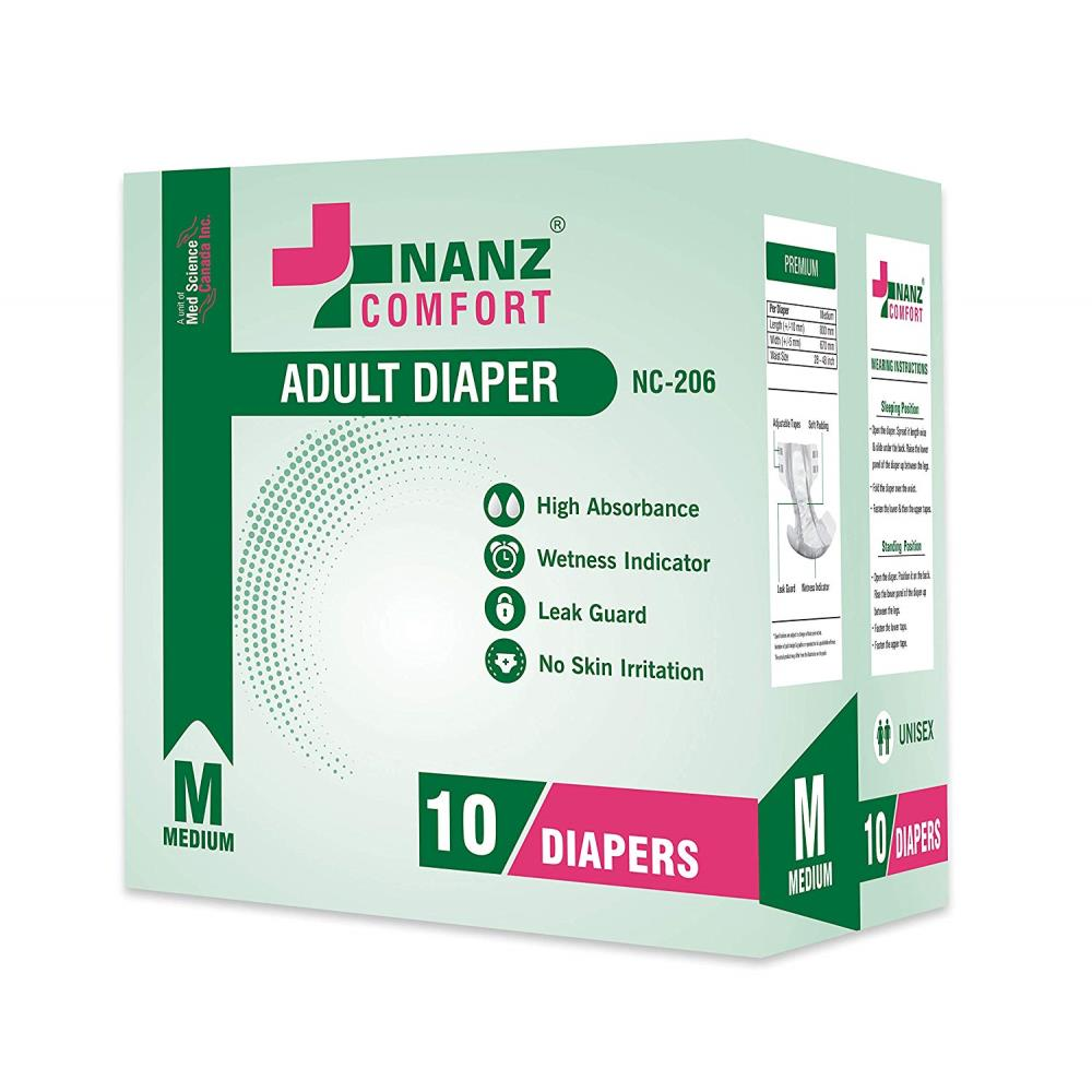 Nanz Comfort Adult Unisex Diapers (M, Pack of 10)