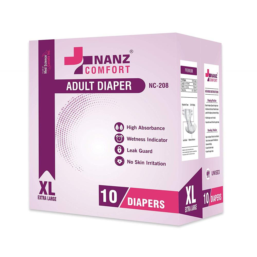 Nanz Comfort Adult Unisex Diapers (XL, Pack of 10)